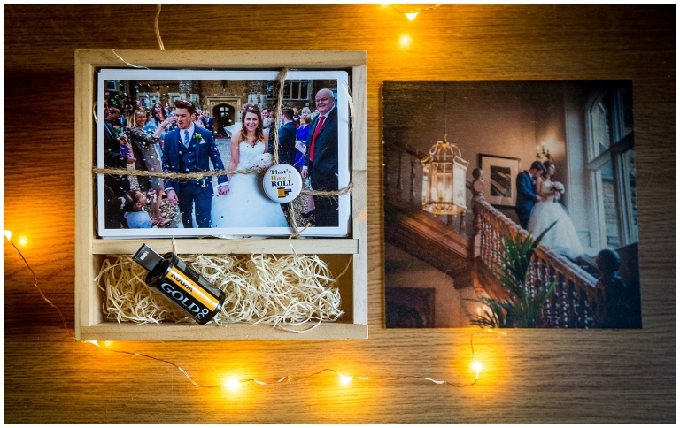 wooden photobox containing USB stick full of wedding photos, photographed and provided by James Grist, Documentary wedding photographer.